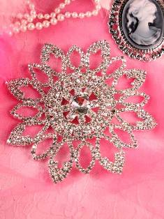 RMTS48 REDUCED Floral Silver Crystal Clear Rhinestone Applique Embellishment 4.25""