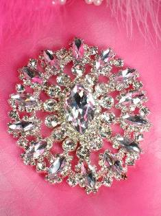 "TS50 Round Floral Silver Crystal Clear Rhinestone Applique Embellishment 3.75"""