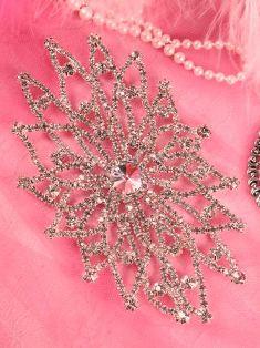 """TS53 Silver Crystal Clear Rhinestone Applique Embellishment 5.5"""""""