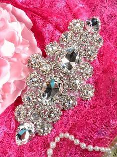 RMTS54 REDUCED Crystal Clear Silver Rhinestone Applique 6.5""