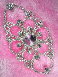 """TS59 Sophia Silver Crystal Clear Rhinestone Applique Embellishment 5"""""""