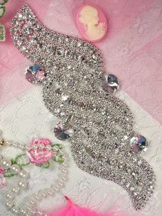 """TS7 Silver Crystal Clear Wave Rhinestone Applique Embellishment 7"""""""