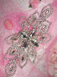 """TS74 Crystal Rhinestone Applique Silver Embellishment  9"""""""