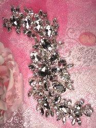 "RMTS77 REDUCED Silver Crystal Clear Rhinestone Applique Embellishment 9"""