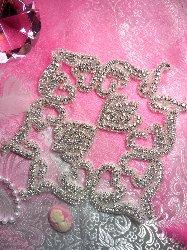"TS84 Crystal Clear Silver Beaded Rhinestone Applique 8"""