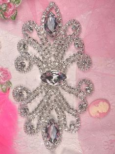TS9 Silver Crystal Clear Diamond Rhinestone Applique Embellishment 7""