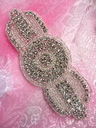 "TS99 Crystal Clear Silver Beaded Rhinestone Applique 6"" x 2.5"""