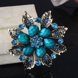 "GB211 Turquoise Glass Rhinestone Brooch Pin Gold 2.5"""