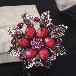 "GB211 Pink Glass Rhinestone Brooch Pin Gold 2.5"""