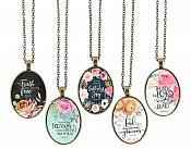 Christian Necklace Pendant Scriptures Inspirational Motivational Quotes Antique Gold Oval Victorian Jewelry JW242 - JW246
