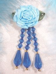 VD1  Lt.  Blue Royal Floral Dangle Beaded Applique 3""