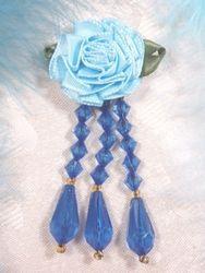 "VD1  Lt.  Blue Royal Floral Dangle Beaded Applique 3"""