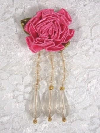 VD1 Mauve Ivory Dangle Beaded Applique 2.75""