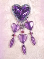 VD12  Purple Heart Dangle Beaded Applique 3""