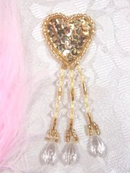 VD13  Gold Heart  Dangle Beaded Applique 3""