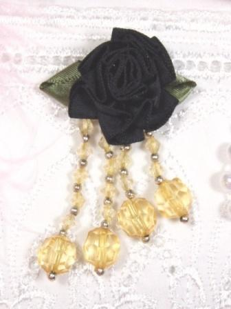 VD19  Black/Gold Floral Dangle Beaded Applique 2.75""
