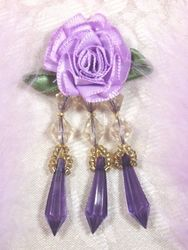 VD2  Lavender Purple Floral Dangle Beaded Applique 3""