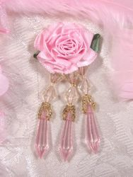 VD2  Pink Floral Dangle Beaded Applique 3""