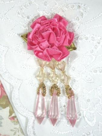 VD2  Mauve Pink Floral Dangle Beaded Applique 3""
