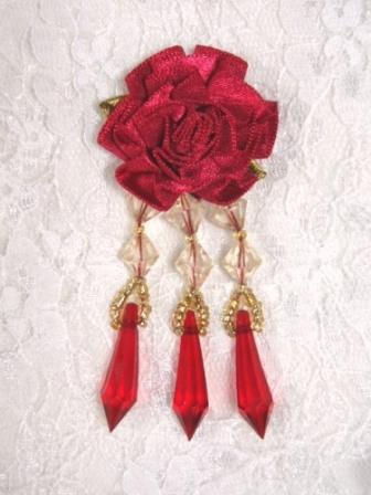 VD2  Red Floral Dangle Beaded Applique 3""