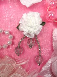 VD20  White and Grey Floral Dangle Beaded Applique 2.5""
