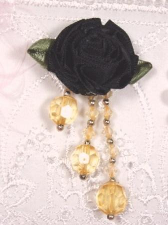 VD20  Black/Gold Floral Dangle Beaded Applique 2.5""