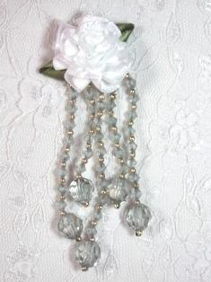 "VD21 White Gray Floral Dangle Beaded Applique 3.75"""
