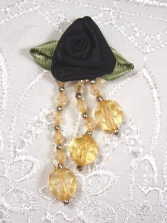 VD22  Black /Gold Floral Dangle Beaded Applique 2.5""