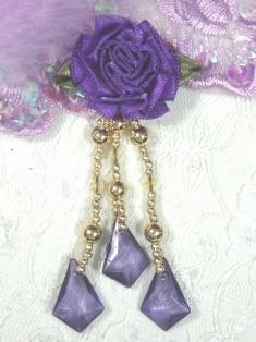 "VD25  Purple Floral Gold Dangle Beaded Applique 3"""
