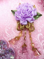 VD37 Applique Lavender Floral Slant Beaded Dangle 3.25""