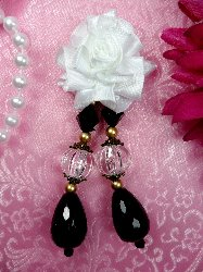 VD39 Applique White Floral Dangle Black Crystal Beads 3.5""
