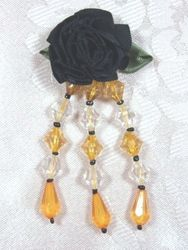 VD7  Black  W/ Gold Floral Dangle Beaded Applique 3""