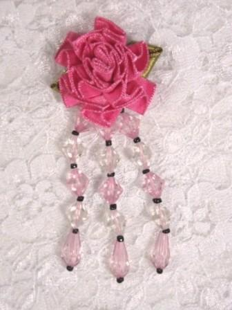 VD7  Mauve Pink Floral Dangle Beaded Applique 2.75""