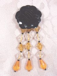 VD8  Black W/ Gold  Floral Dangle Beaded Applique 3""