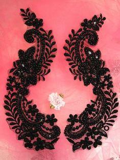 """W24  Black Venise Lace Mirror Pair Beaded Sequin Appliques 8"""""""