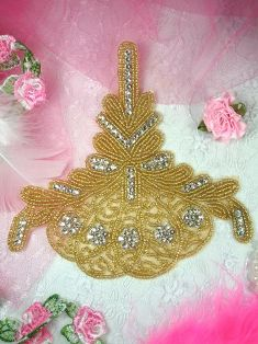 W30 Gold Beaded Crystal Clear Applique  5.75""