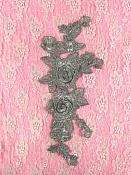 """Embroidered Floral 3D Applique Silver Rose Patch Craft Motif 10.5"""" (W44)"""