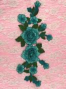 """Embroidered Floral 3D Applique Teal Rose Patch Craft Motif 10.5"""" (W44)"""