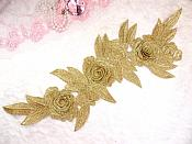 """Embroidered Floral 3D Applique Gold Rose Patch Craft Motif 16.75"""" (W45)"""