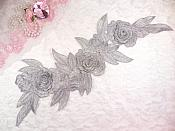 """Embroidered Floral 3D Applique Silver Rose Patch Craft Motif 16.75"""" (W45)"""