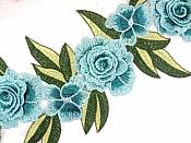 """Embroidered Floral 3D Applique Teal Rose Patch Craft Motif 16.75"""" (W45)"""
