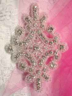 XR5 (Reserved For Roell Auction Winner) Alexis Glory Crystal Glass Rhinestone / Silver Beaded  Applique 4""