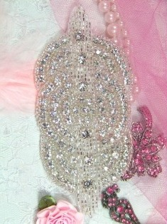 RMXR9A-SLCR- REDUCED Crystal Rhinestone Applique Silver Beaded Triple Circle 4.75""