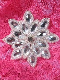 XR353 Glass Stones Silver Beaded Rhinestone Applique Snowflake 3""