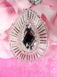 "XR111 Teardrop Treasure Silver Crystal Clear Beaded Rhinestone Applique 1.75"""