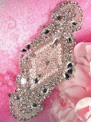 """XR112 Ariel Bridal Motif Silver Crystal Clear Rhinestone Applique w/ Pearls 5.5"""""""