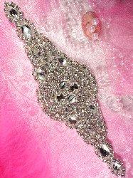 """XR113 Nola Bridal Motif Silver Crystal Clear Rhinestone Applique 7.5"""""""