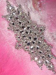 """XR114 Vanessa Bridal Motif Silver Crystal Clear Rhinestone Applique  7"""""""