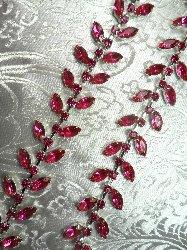 XR115 Fuschia Crystal Rhinestone Leaf Vine Trim