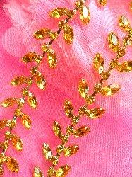 XR115 Gold Rhinestone Leaf Vine Trim
